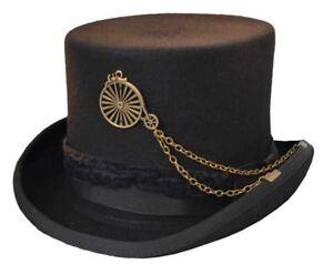 Image is loading K-Wool-Fedora-Steampunk-Top-Hat-Millinery-Steampunk- b8b96181a97