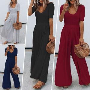 Womens-Wide-Leg-Long-Playsuit-Boho-V-Neck-Short-Sleeve-Summer-Jumpsuit-Trousers