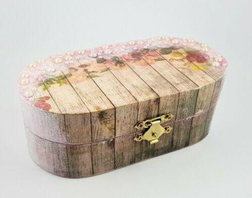 Shabby Chic Joyero de madera de aspecto vintage