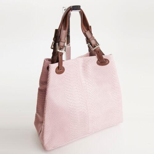 edle Shopper Ledertasche Handtasche Schlangenhaut Rose echt Leder 603RO Ital