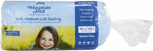 Queen Size 90 inch x 108 inch Mountain Mist Polyester Quilt Batting