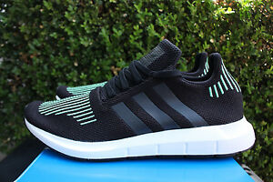 Adidas Swift Run Pk Size 11.5 Black Green White Primeknit Running Shoe