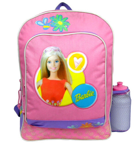 """Licensed Barbie Lover 16/"""" Pink Large Cargo Backpack with Water Bottle"""