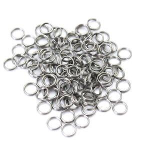 Packung-100-Stueck-Sprengringe-rund-Split-Ring-rostfrei-Edelstahl-6mm-Angeln-LEM