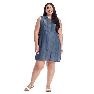 Nic + Zoe Chambray Denim Pintuck Sleeveless Bib Shift Dress Plus Size 1X |  eBay