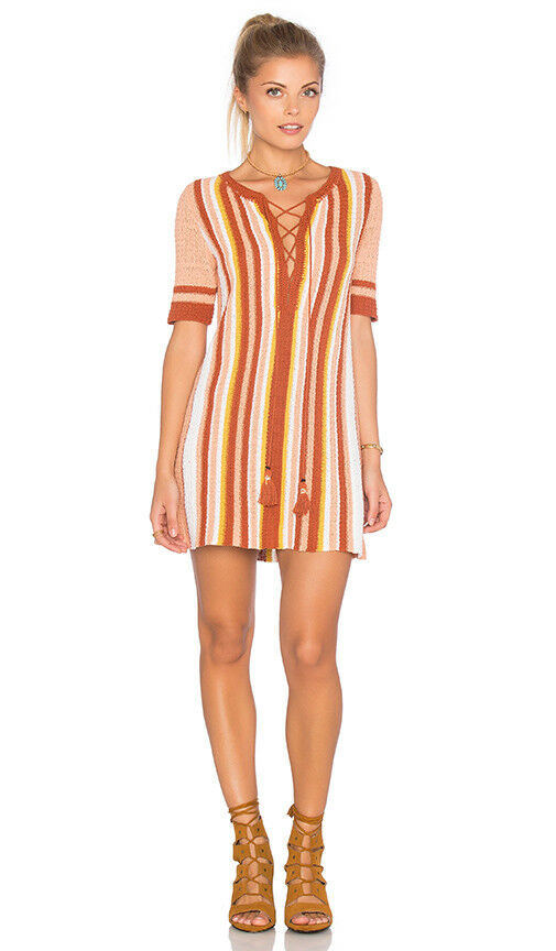 NWT Free People Lollipop Sunset Combo orange Tie Front Mini Knit Dress Small