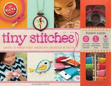 TINY STITCHES - LEARN TO EMBROIDER NECKLACE PENDANTS & MORE KLUTZ ACTIVITY KIT
