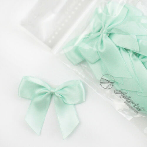 5cm Satin Bows Self Adhesive Mint Green