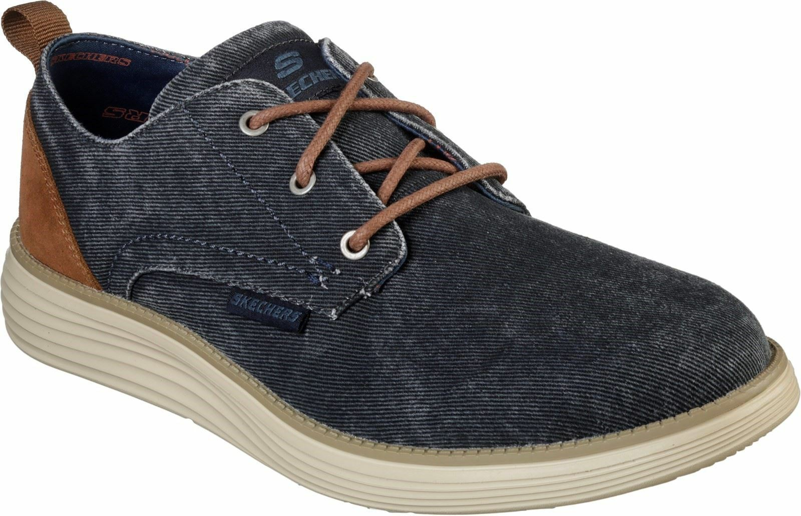Skechers Status 2.0 - Pexton Low Profile Canvas Lace Up Shoe Mens Sports in Navy