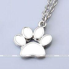 Metal Enamel Animal Pet Dog Cat Paw Print Charm Pendant Chain Necklace Jewelry