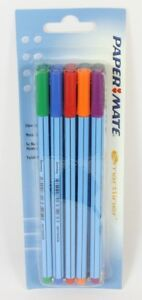 10 X Papermate Smartliner Fibre Tip Pens Extra Fine 0.4mm Black Blue Red Green