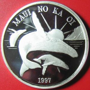 1997-HAWAII-MAUI-1-TRADE-DOLLAR-1oz-SILVER-PROOF-HUMPBACK-WHALE-SUN-VOLCANO-RR