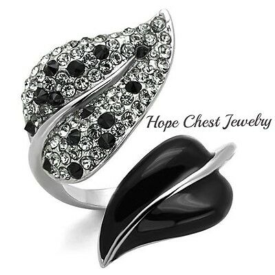 WOMEN'S STAINLESS STEEL BLACK & WHITE CRYSTAL LEAF SHAPE FASHION RING SIZE 5-10