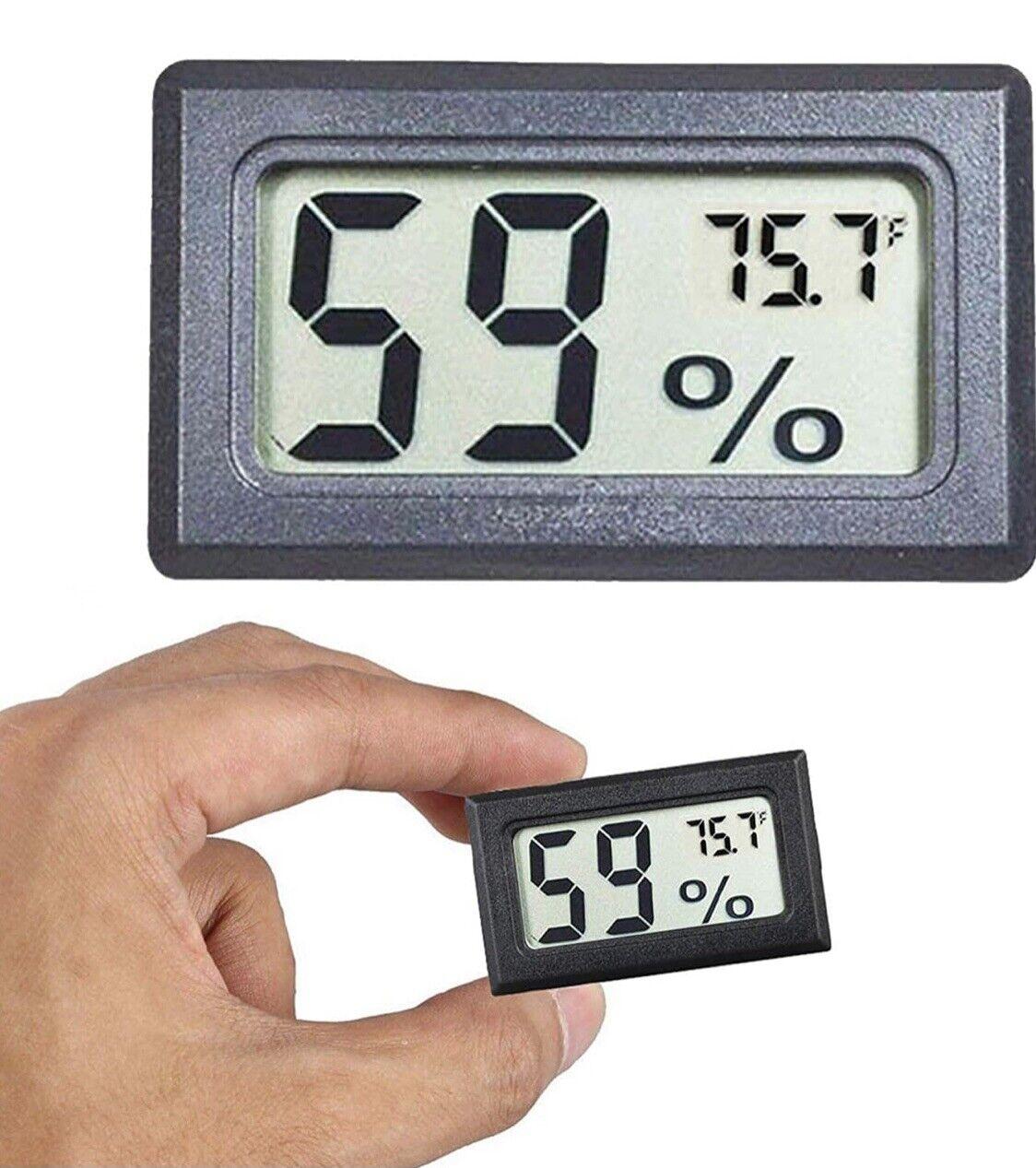 Mini Hygrometer, Thermometer: Lot Of 4! Measures Humidity & Temperature, Black