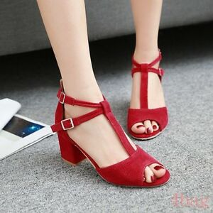 4eaedaf19f82 New Womens Cross Strap Block Heels Ladies Peep Toe T-Bar High Heel ...