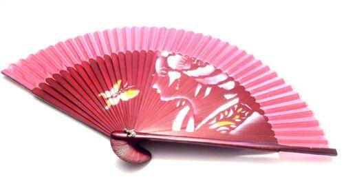 Japanese Bamboo folding fan handfan  with Geisha Girl Design