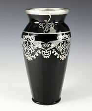 Art-Deco Rockwell Sterling Silver Overlay Black  Art Glass Vase Foliate Scrolls