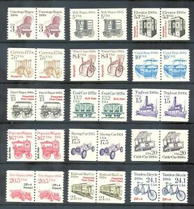 US Stamp (L193) Scott# 2252-2266, Mint NH OG, Nice Transportation Coil Pairs