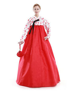 hanbok robe coreenne sur mesure ceremonie mariage ete rouge blanc ebay. Black Bedroom Furniture Sets. Home Design Ideas