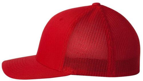 FLEXFIT 6 7//8-7 1//4 TRUCKER CAP FITTED MESH BACK HAT 6511 BASEBALL BLANK PLAIN