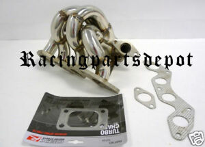OBX Gray T3 Turbo Header Manifold for 01-05 Honda Civic DX LX EX 1.7L D17A1//A2