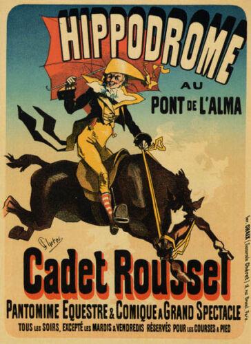 HORSEBACK HORSE RACECOURSE HIPPODROME CADET ROUSSEL FRENCH VINTAGE POSTER REPRO