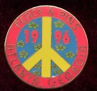 1996 Atlanta Olympic Peace & Pins Pin Trader Trading Peace Sign Lapel Pin - Red