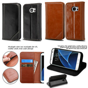 separation shoes b847f 1ae5f Details about Samsung Galaxy S7 / S7 Edge Genuine Premium Leather Flip  Cover Wallet Case
