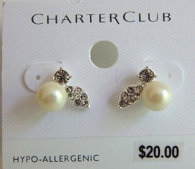 CHARTER CLUB Silver Tone Faux Pearl and Crystal Drop Dangle Earrings NEW!
