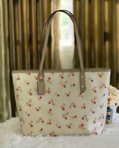Authentic-Coach-City-Zip-Tote-with-Cherry-Print-F31971-Chalk
