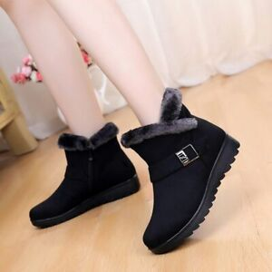 Womens-Winter-Warm-Ankle-Boots-Ladies-Fur-Buckle-Flats-Suede-Shoes-Size-10-5-Us