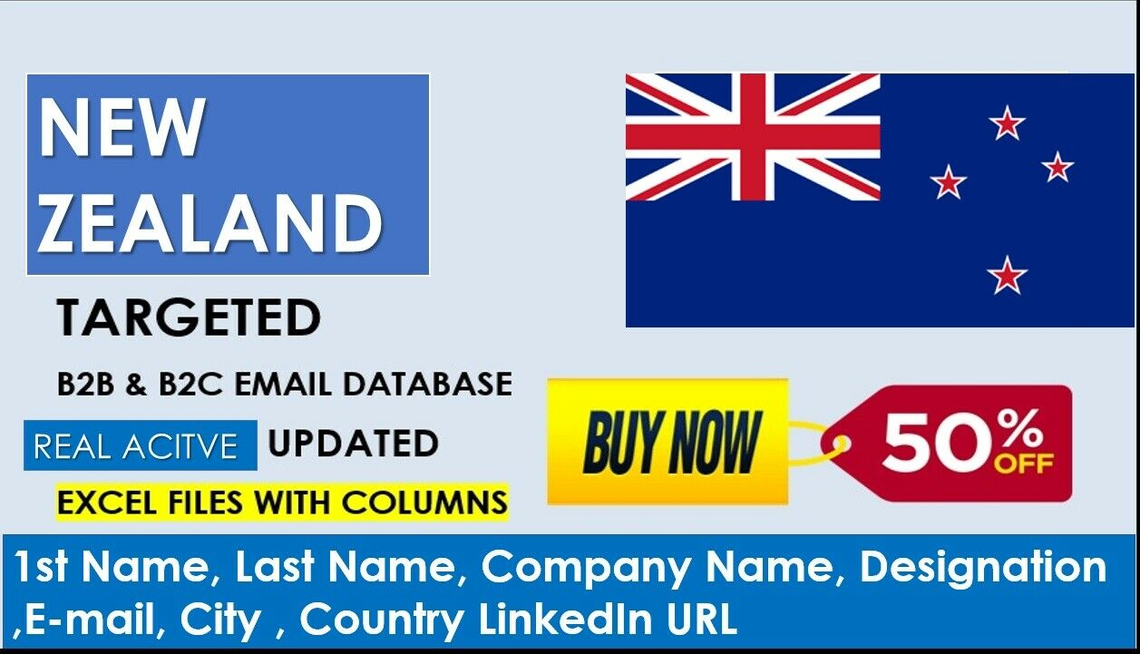 New Zealand Email Database, New Zealand Consumers, New Zealand Companies lists