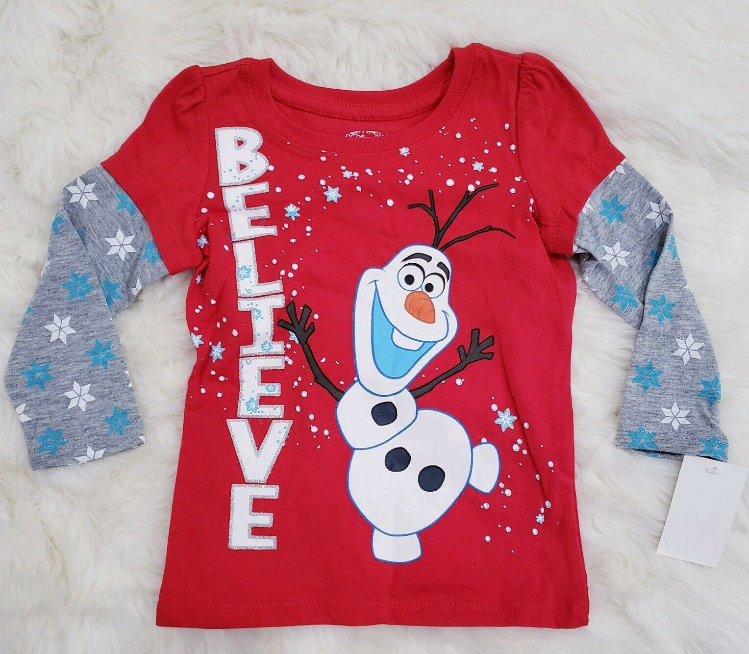 Girls Disney Frozen Olaf BELIEVE T-Shirt Top sz 2t  new nwt long sleeve