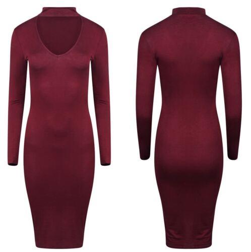 Womens  Choker V Neck Collar Bodycon Midi Dress Plus Size UK 8-26