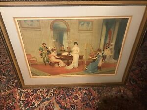 Lucius-ROSSI-Colored-Lithography-French-Empire-Music-Room-Scene-Copyright-1912