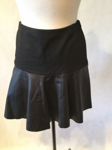 HINGE BLACK LEATHER TIERED FLARE SKIRT- SIZE XS