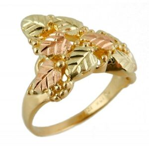 Landstrom-039-s-Tri-color-Black-Hills-Gold-Ring-with-Leaves-and-Grapes-Size-4-11