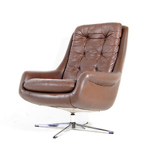 Retro Vintage Danish Swivel Base Leather Chrome Armchair Lounge Egg Cha