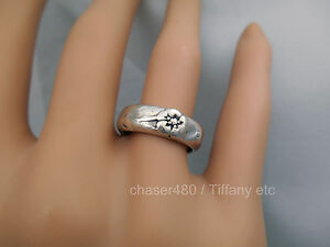 TIFFANY-amp-Co-Nature-Rose-Flower-Ring-Rare-Sterling-Silver-Sz-5-5