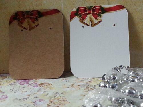Kraft Brown//White 10//50//100  Earring Display Cards Christmas Jewellery Studs