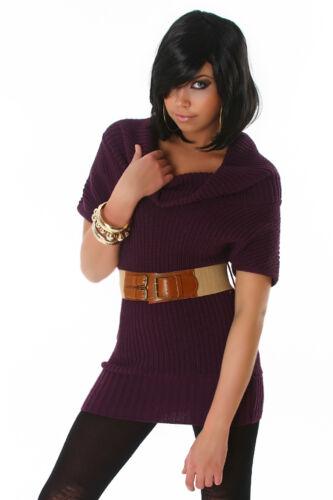 S 34 36 Giacca a Maniche Corte Moda Donna Maglione Gilet Sweater Collo Cintura Incl