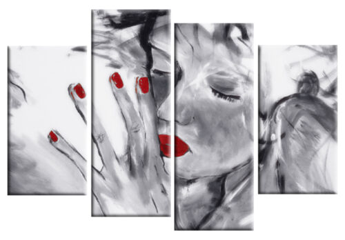 """RED GREY CANVAS /'Missed You/' WALL ART PICTURE 4 PANEL SPLIT ARTWORK rdy2hang 40/"""""""