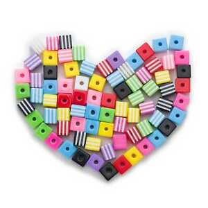 50-Piece-Random-Mixed-Square-Resin-Stripe-Jewelry-Making-Spacer-Beads-8-10mm