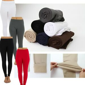 Winter-Warm-Leggings-Fleece-Lined-Solid-Long-Stretchy-Thick-Regular-amp-Plus