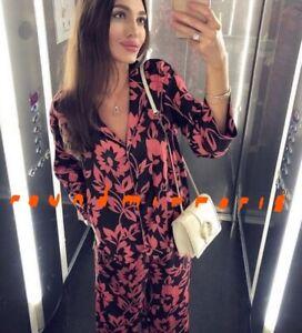 NWT Zara Black Orange Printed Pyjama Top Shirt Trousers Pants Co Ord XS S M