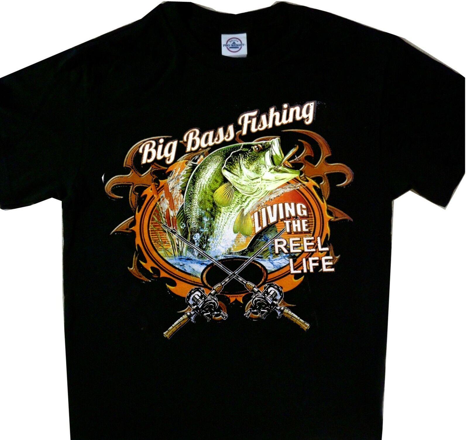 2335573224 Big Bass Fishing living the reel life Tee Black Fishing T'shirt Funny free  shipping Unisex Casual Tshirt top