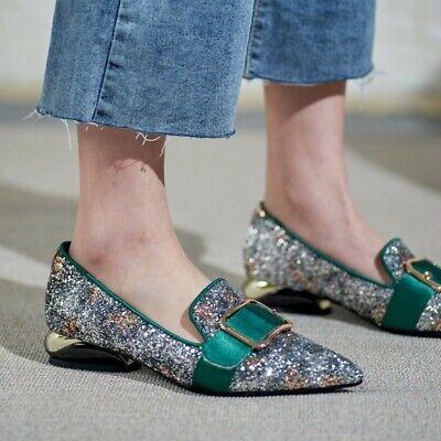 Glitter Sequin Pointed Toe Buckles Slip