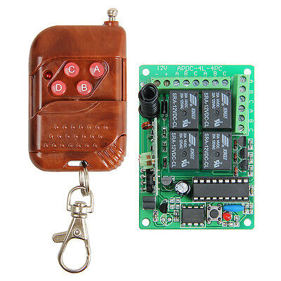 DC 12V 4 Channel Relay module remote controller switch RF receiver & Transmitter