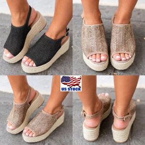 Women-Flat-Wedge-Heel-Espadrille-Woven-Sandals-Ladies-Flatform-Peep-Toe-Shoes-US