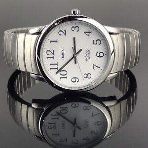 Timex Mens Watch Stretch Bracelet Indiglo Easy Read Silver Tone Quartz